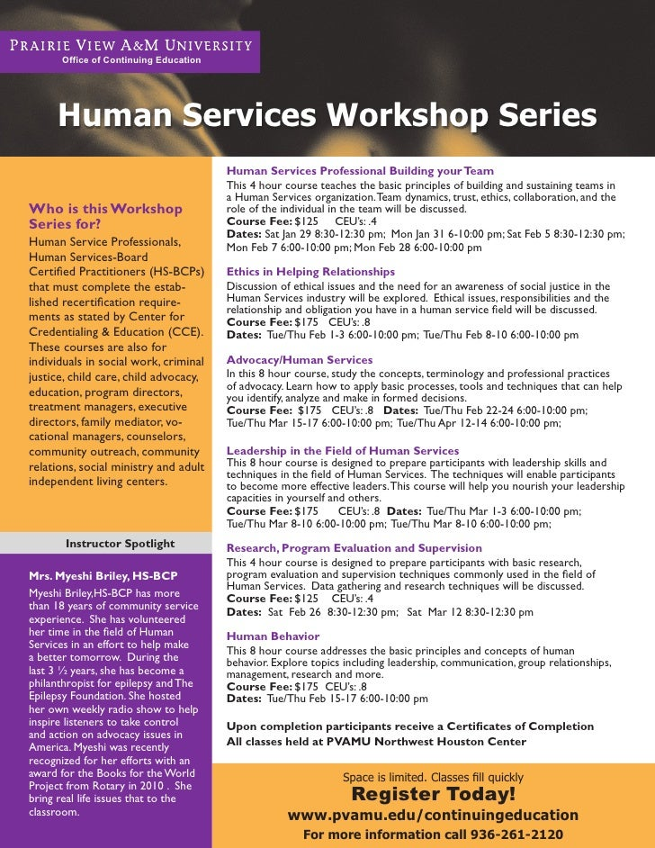 Office of Continuing Education     Human Services Workshop Series                                       Human Services Pro...