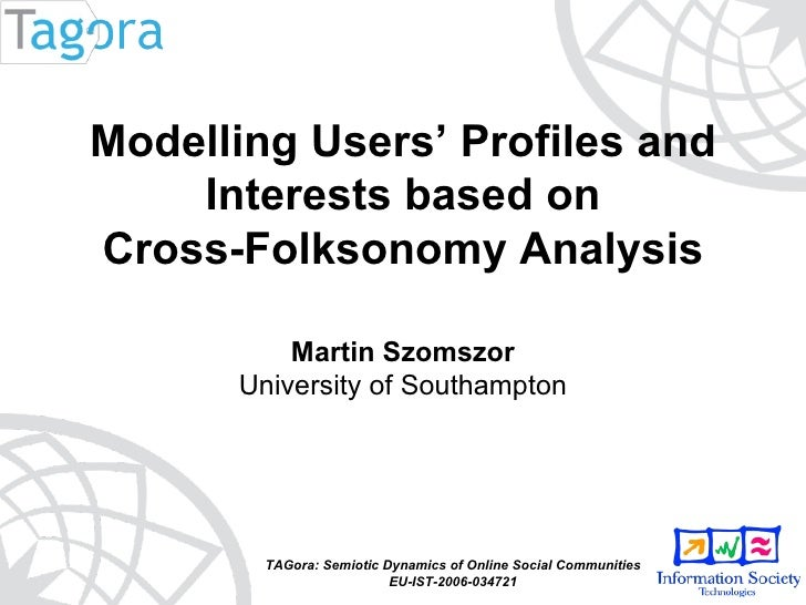 TAGora: Semiotic Dynamics of Online Social Communities EU-IST-2006-034721 Modelling Users' Profiles and Interests based on...
