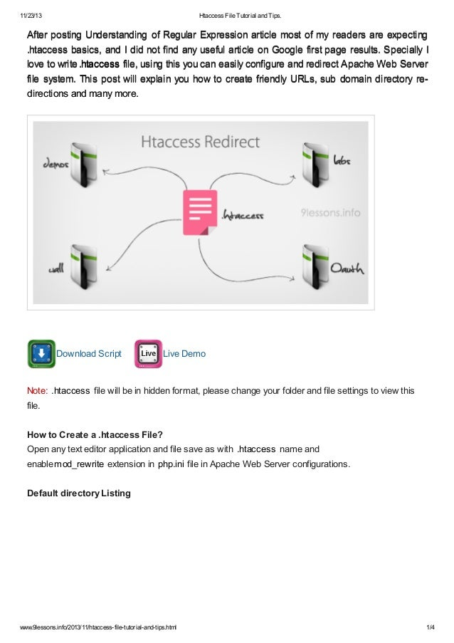 Htaccess file tutorial and tips