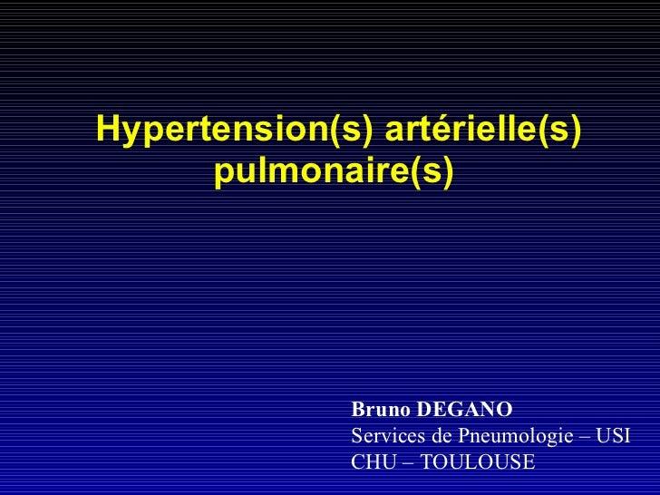 Hypertension(s) artérielle(s) pulmonaire(s)   Bruno DEGANO Services de Pneumologie – USI  CHU – TOULOUSE