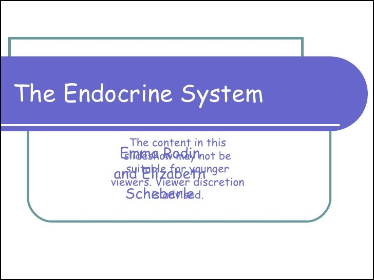 The Endocrine System Emma Rodin and Elizabeth Scheberle The content in this slideshow may not be suitable for younger view...