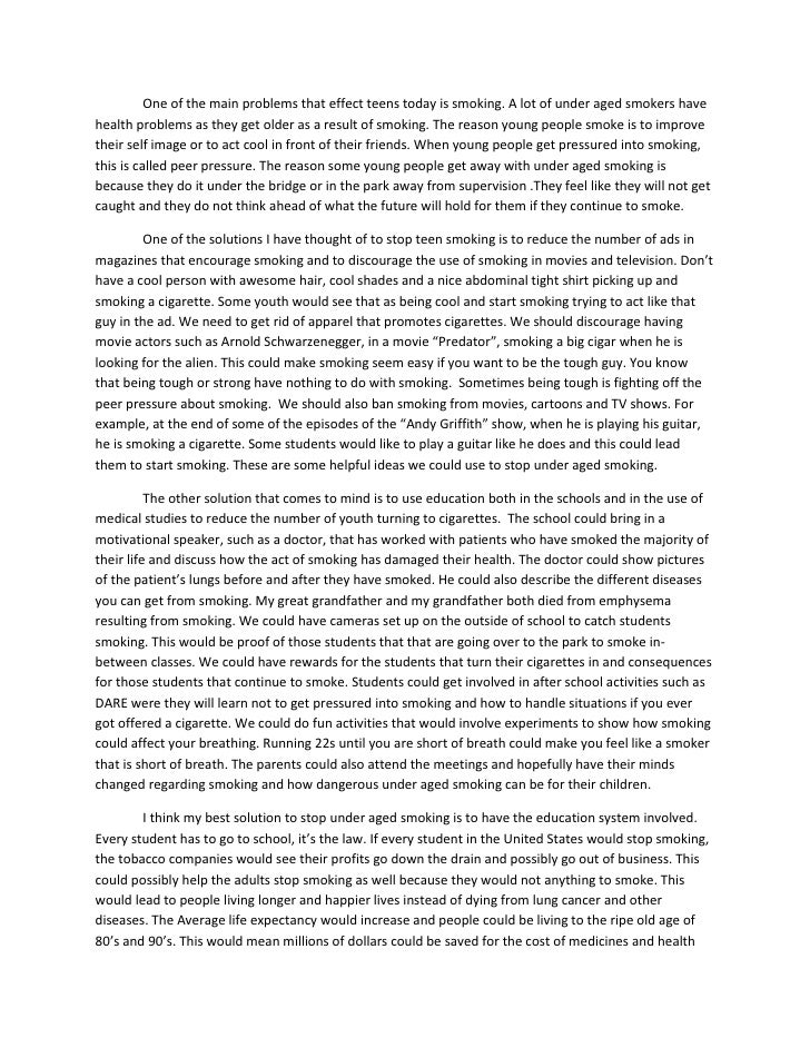 problem solving essay on smoking problem-solution essay a problem-solution essay is an essay in which you analyze a problem and propose a method for solving it actually, the major part.