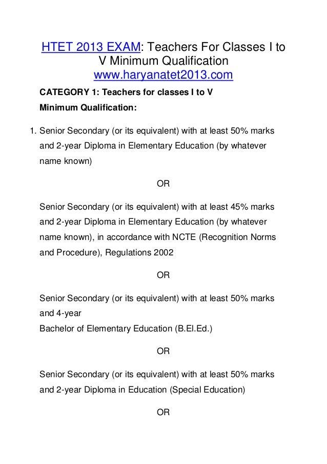 HTET 2013 minimum qualification,eligibility Haryana tet exam