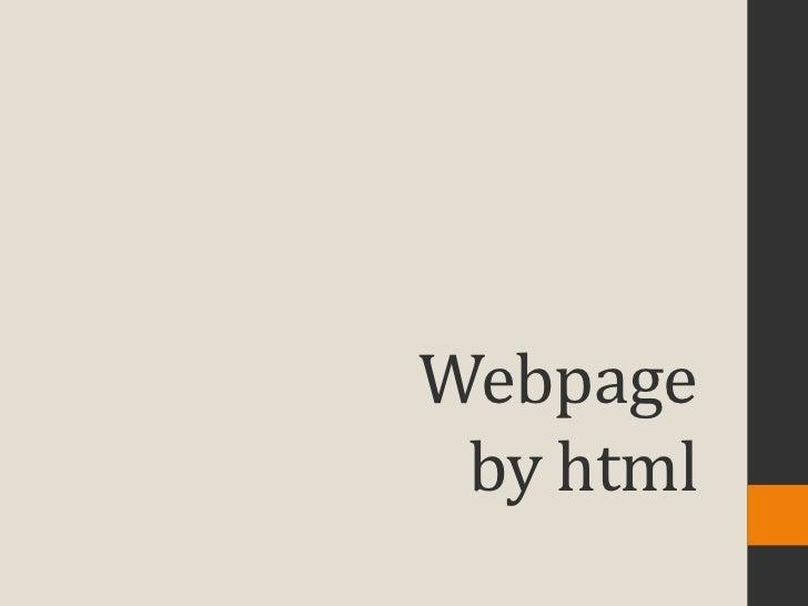 Webpage by html