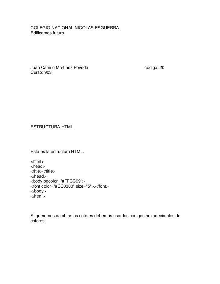 COLEGIO NACIONAL NICOLAS ESGUERRAEdificamos futuroJuan Camilo Martínez Poveda                            código: 20Curso: ...