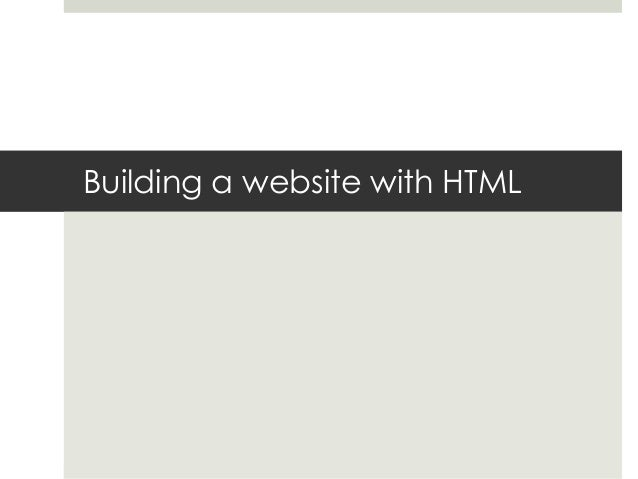 Building a website with HTML