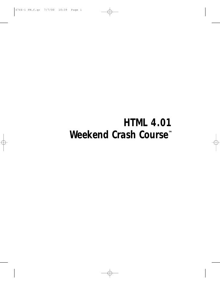 HTML 4.01 Weekend Crash Course™