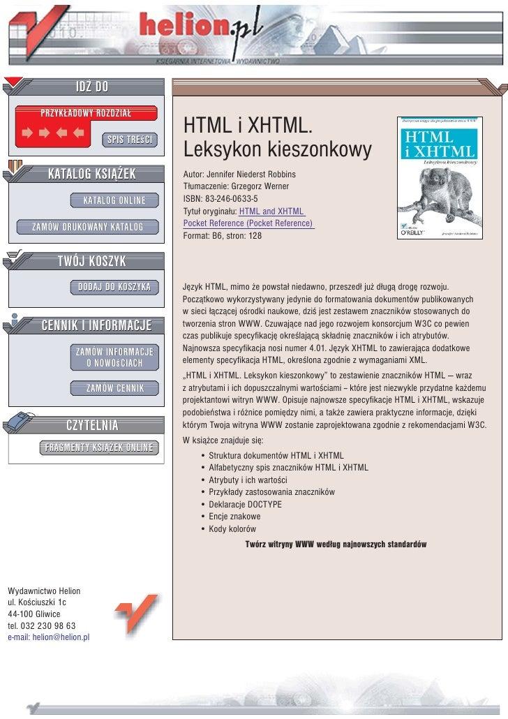 IDZ DO          PRZYK£ADOWY ROZDZIA£                             SPIS TREœCI                                          HTML...