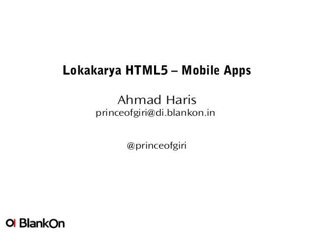 Html5 mobile apps