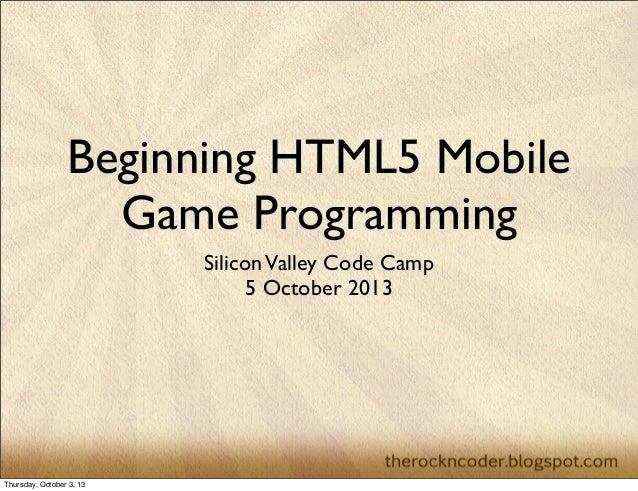Beginning HTML5 Mobile Game Programming