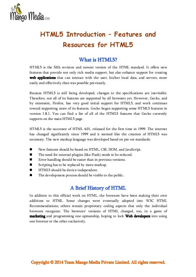 HTML5 Introduction – Features and Resources for HTML5