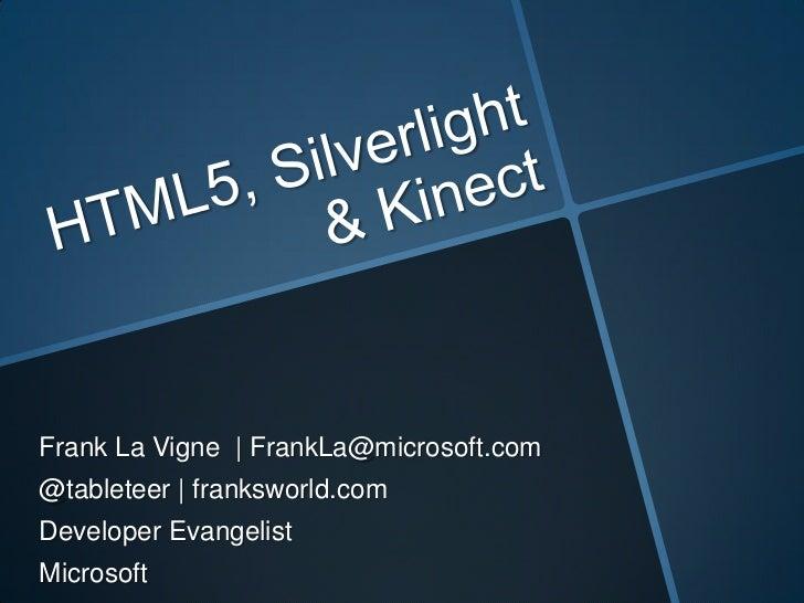 Frank La Vigne | FrankLa@microsoft.com@tableteer | franksworld.comDeveloper EvangelistMicrosoft