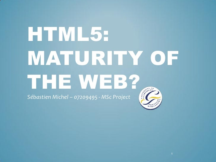 HTML5: MATURITY OF THE WEB? Sébastien Michel – 07209495 - MSc Project                                                 1