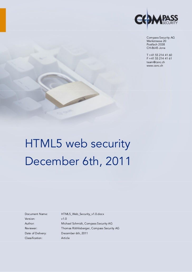 HTML5 Web Security