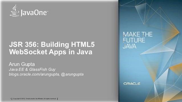 JSR 356: Building HTML5WebSocket Apps in JavaArun GuptaJava EE & GlassFish Guyblogs.oracle.com/arungupta, @arungupta1   Co...
