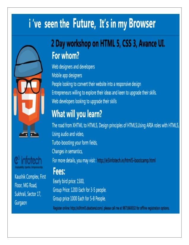 e3 InfoTech HTML 5 Workshop