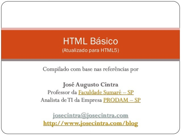 Minicurso de HTML básico - Atualizado para HTML5