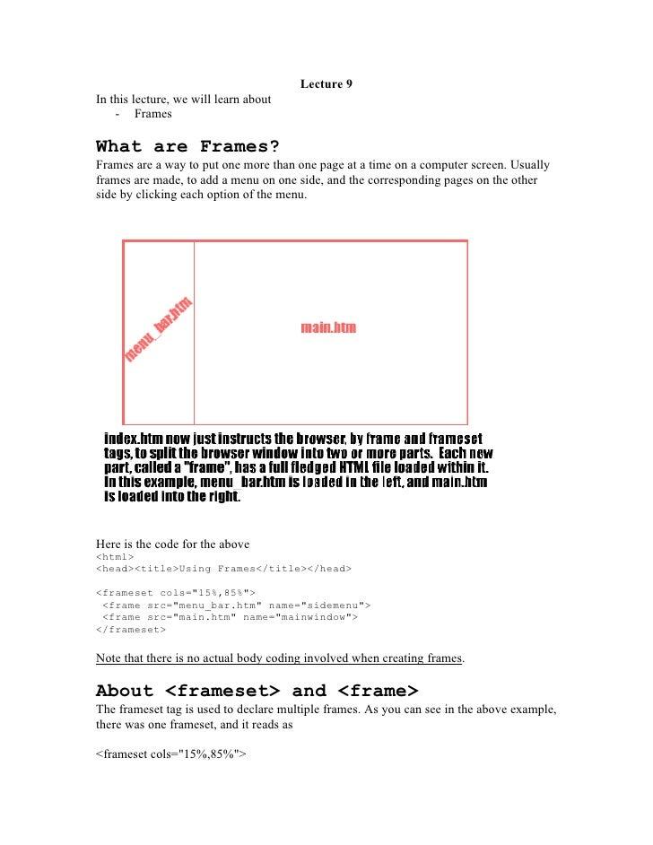 Html basics 8 frame