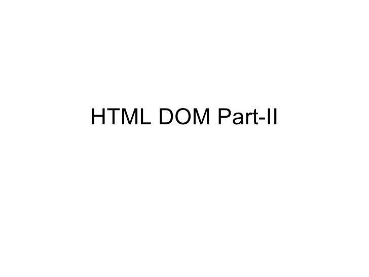 HTML DOM Part-II