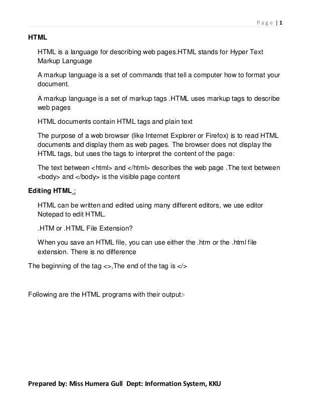 Webpage Designing  in HTML