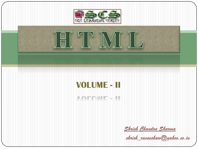 HTML Series Vol 2 by S C Sharma