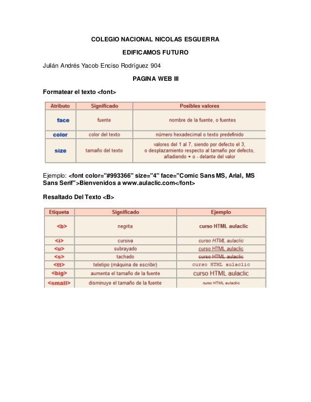 COLEGIO NACIONAL NICOLAS ESGUERRA EDIFICAMOS FUTURO Julián Andrés Yacob Enciso Rodríguez 904 PAGINA WEB III Formatear el t...