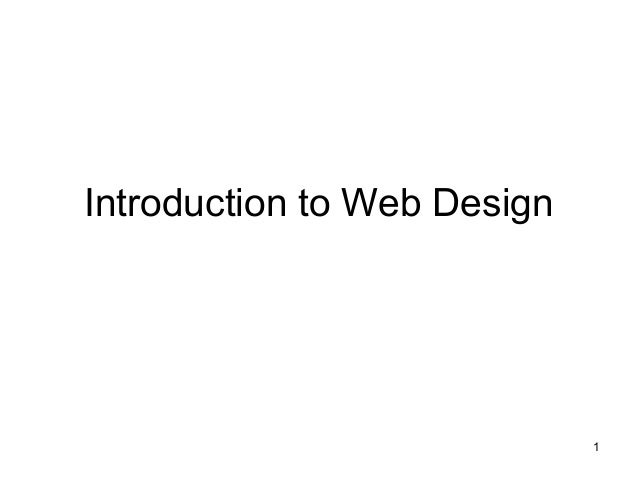 1Introduction to Web Design