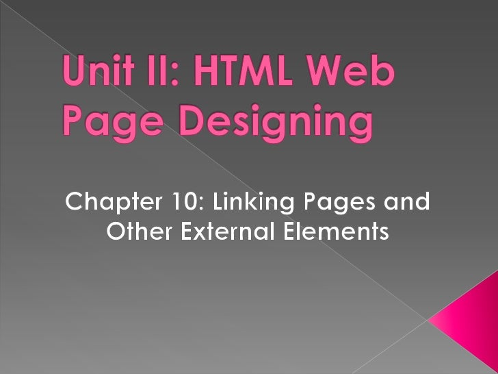 Html web designing linking pages