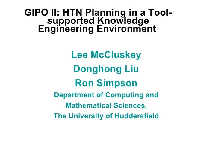 Htn Planning In A Tool Supported