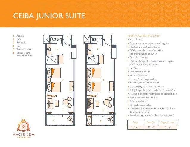 Ceiba Junior Suite Acceso Baño Recámara Sala Terraza / balcón Jacuzzi (sujeto a disponibilidad) HABITACIONES TIPO SUITE: •...