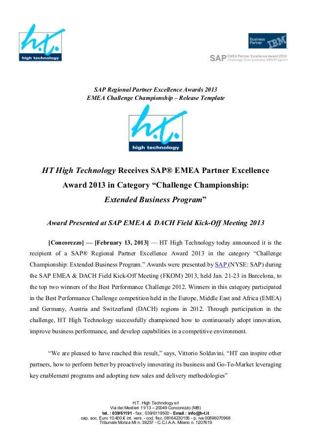 SAP Regional Partner Excellence Awards 2013                      EMEA Challenge Championship – Release Template    HT High...
