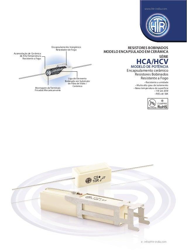 HTR India - Produtos - Resistores De Fio Enrolado - Resistores Envoltos Em Cerâmica - HCA (Português)