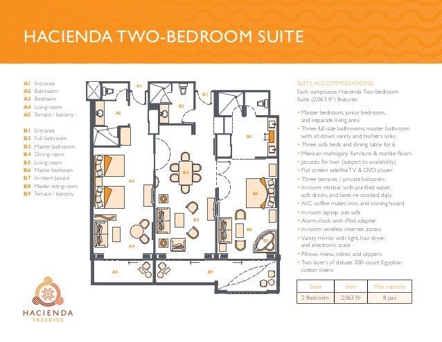 Suite accommodations: Each sumptuous Hacienda Two-bedroom Suite (2,063 ft2 ) features: •Master bedroom, junior bedroom, a...