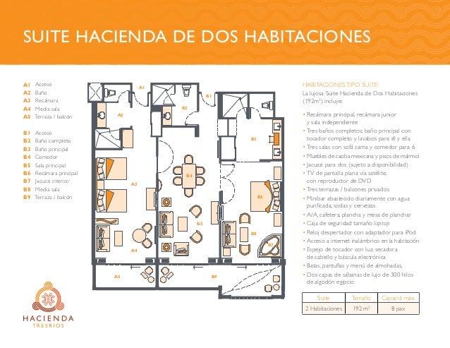 Habitaciones tipo suite: La lujosa Suite Hacienda de Dos Habitaciones (192m2 ) incluye: •Recámara principal, recámara jun...