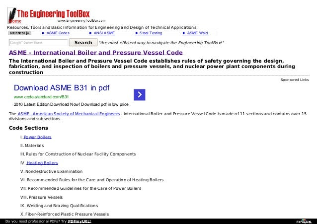 Resources, Tools and Basic Information for Engineering and Design of Technical Applications! ► ASME Codes  ► ANSI ASME  Se...
