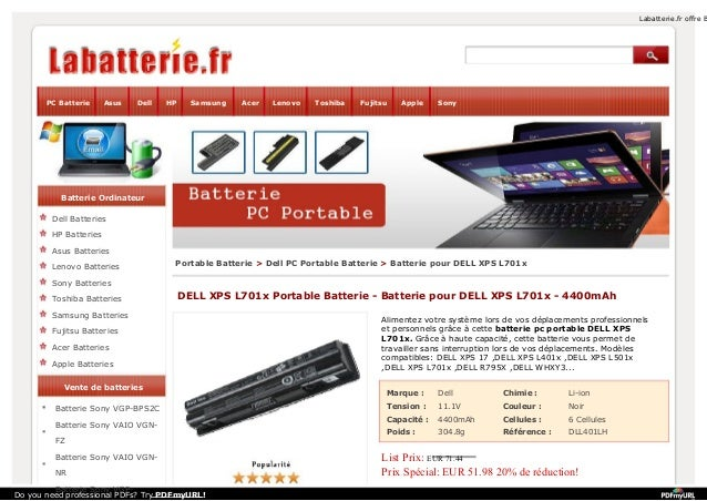 Labatterie.fr offre B  PC Batterie  Asus  Dell  HP  Samsung  Acer  Lenovo  Toshiba  Fujitsu  Apple  Sony  Batterie Ordinat...