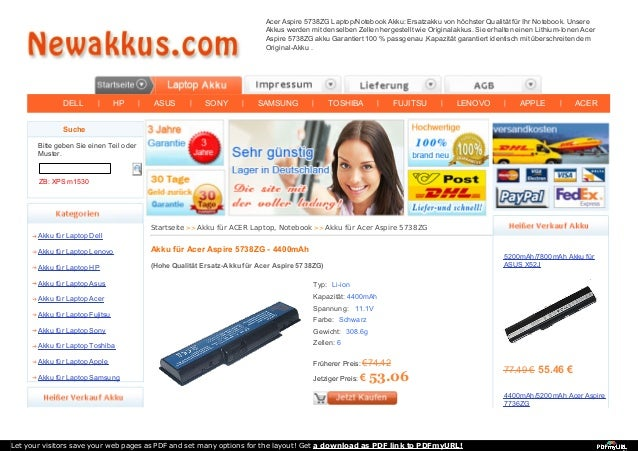 DELL   HP   ASUS   SONY   SAMSUNG   TOSHIBA   FUJITSU   LENOVO   APPLE   ACER Acer Aspire 5738ZG Laptop/Notebook Akku: Ers...
