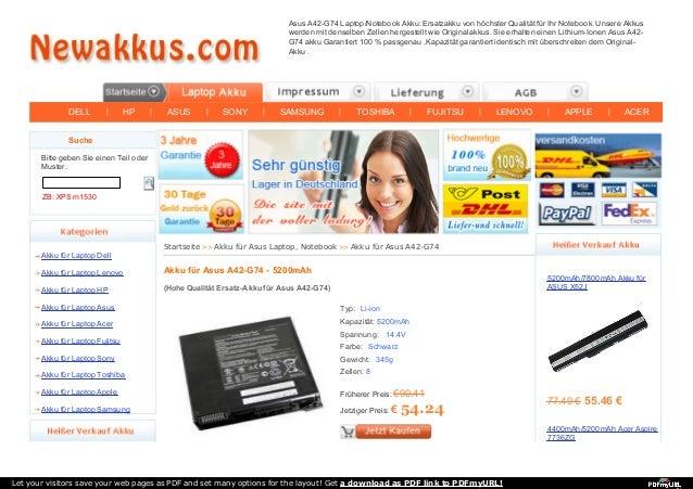 DELL | HP | ASUS | SONY | SAMSUNG | TOSHIBA | FUJITSU | LENOVO | APPLE | ACER Asus A42-G74 Laptop/Notebook Akku: Ersatzakk...