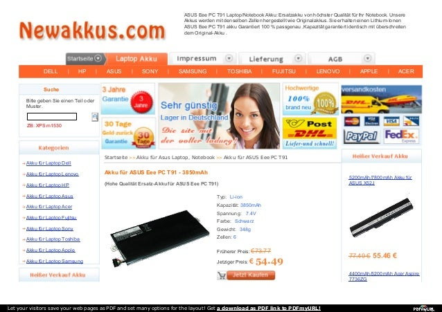DELL | HP | ASUS | SONY | SAMSUNG | TOSHIBA | FUJITSU | LENOVO | APPLE | ACER ASUS Eee PC T91 Laptop/Notebook Akku: Ersatz...