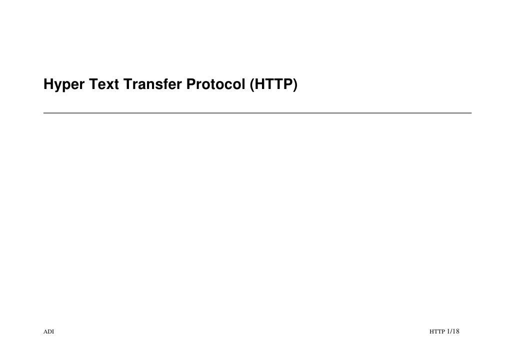 Hyper Text Transfer Protocol (HTTP)     ADI                                   HTTP 1/18