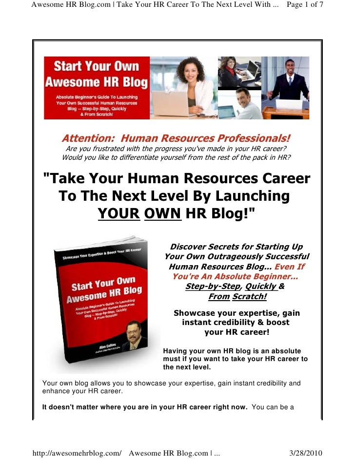 Awesome HR Blog.com | Take Your HR Career To The Next Level With ... Page 1 of 7              Attention: Human Resources P...