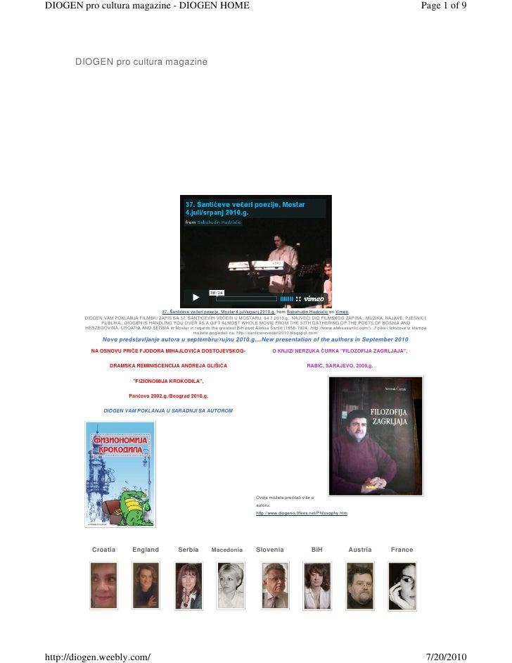 DIOGEN pro cultura magazine - DIOGEN HOME                                                                                 ...