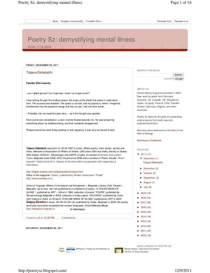 Poetry Sz: demystifying mental illness                                                                                    ...