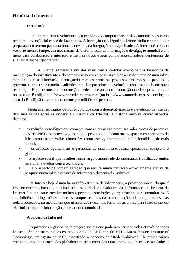 HistóriadaInternet  Introdução  AInternettemrevolucionadoomundodoscompu...