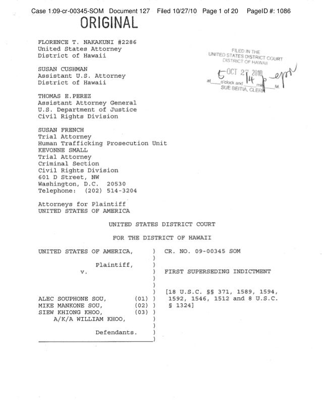 Case 1:09-cr-00345-SOM Document 127 Filed 10/27/10 Page 1 of 20 PageID #: 1086