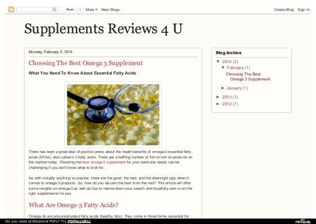 Share  1  More  Next Blog»  Create Blog  Supplements Reviews 4 U Monday, February 3, 2014  Blog Archive  Choosing The Best...