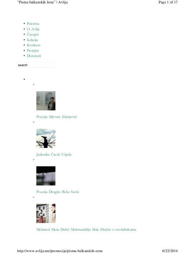 Početna• O Avliji• Časopis• Izdanja• Konkurs• Projekti• Donatori• search • ◦ Poezija Mirvete Islamović ◦ Jadranka Čavić: C...