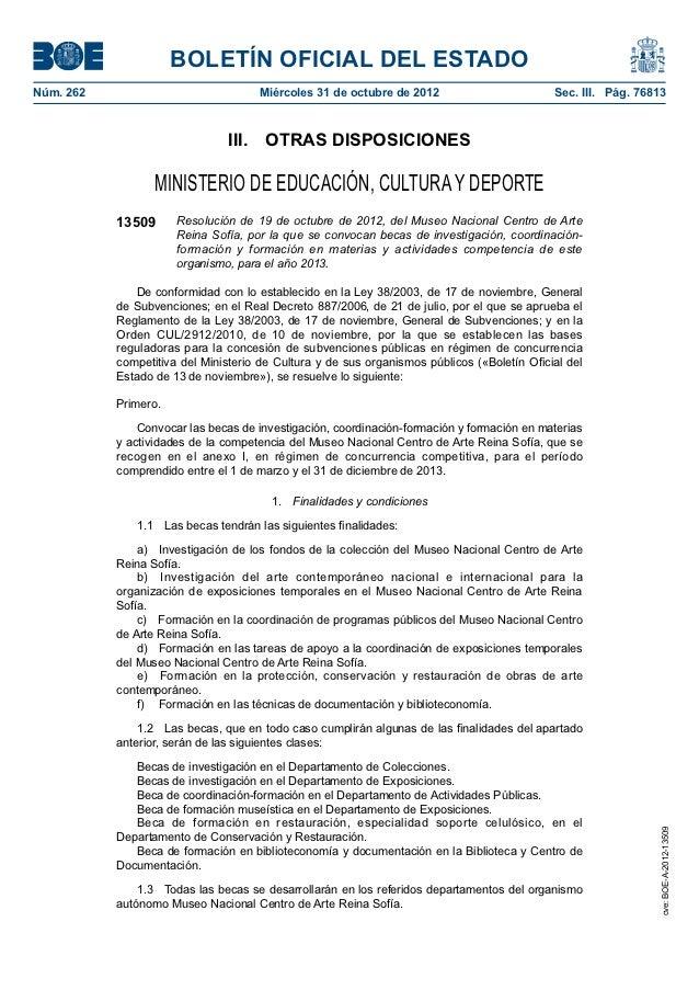 BOLETÍN OFICIAL DEL ESTADONúm. 262                             Miércoles 31 de octubre de 2012                        Se...