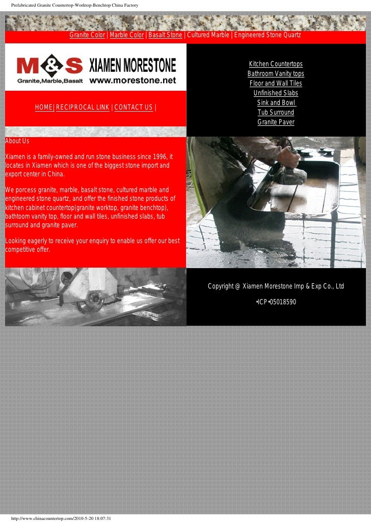 Prefabricated Granite Countertop-Worktop-Benchtop China Factory                                   Granite Color   Marble C...