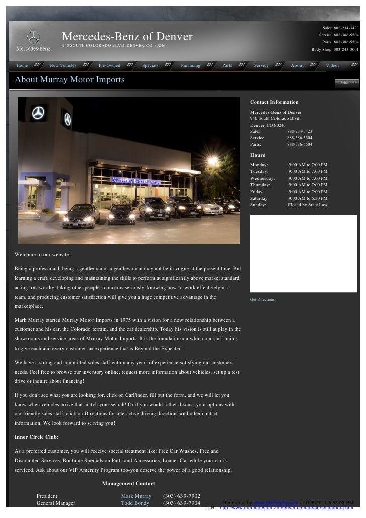 Sales: 888-234-3423                      Mercedes-Benz of Denver                                                          ...